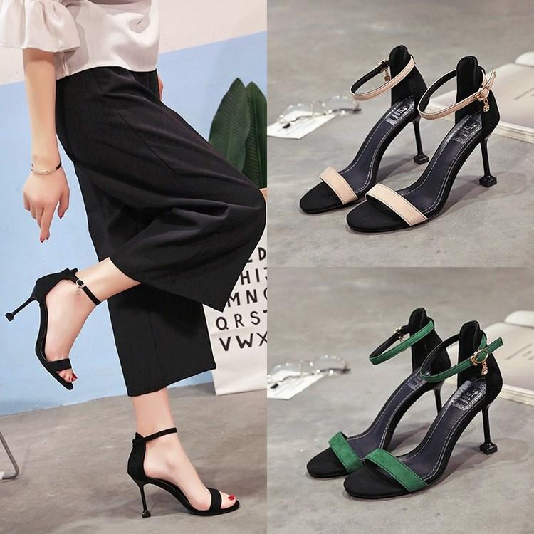 2018新款韩版夏季新款猫跟露趾凉鞋一字扣百搭细跟高跟鞋性感女鞋