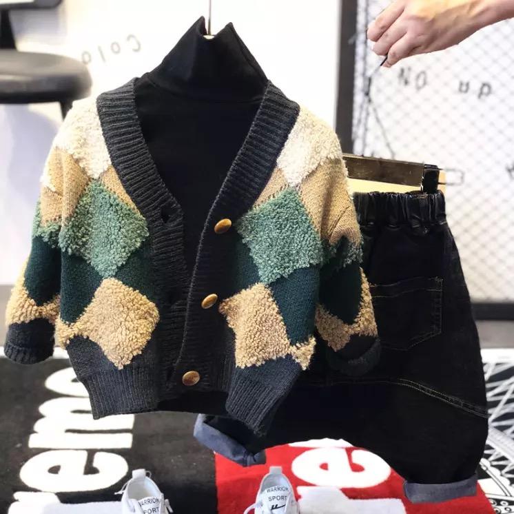 男童毛衣开衫秋装2018新款儿童时尚韩版针织衫宝宝外套3潮装5线衫