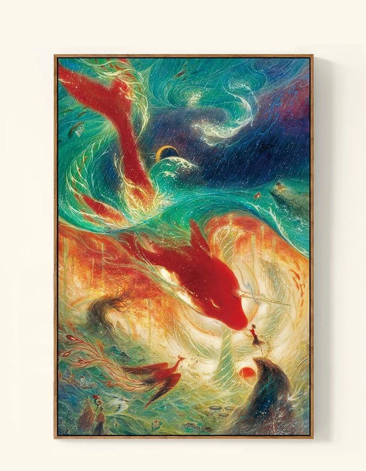 精准印花新款 dmc 十字绣客厅大画 世界名画油画 大鱼海棠