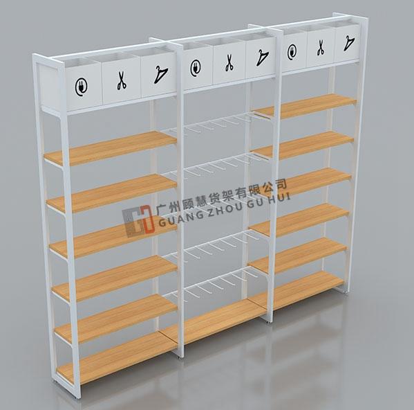 名称优品边柜双立柱高柜精品货架展示架铁木结合饰品货架免钉双柱