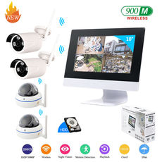 Wireless surveillance camera system equipment set 4-channel 8-channel video recorder with monitor screen one machine home
