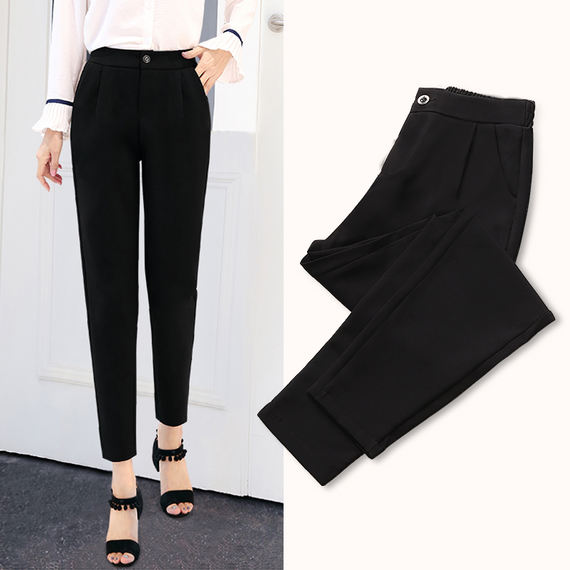 Harlan pants female summer thin section nine pants 2018 new spring loose high waist black suit chiffon casual female pants