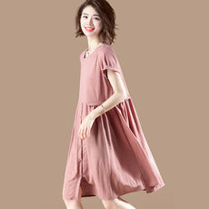 Sumu solid high-waist stitching dress female summer pink Han Fan short-sleeved round collar loose A word skirt B9391