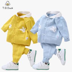 婴儿毛衣套装幼儿春秋外套0-1-2岁男女宝宝针织开衫棉纱衣线衣服