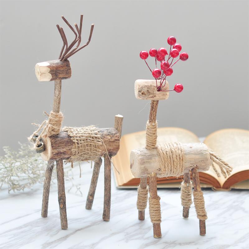 北欧风原木质文艺创意手工情侣小麋鹿桌面装饰工艺品动物摆件礼物
