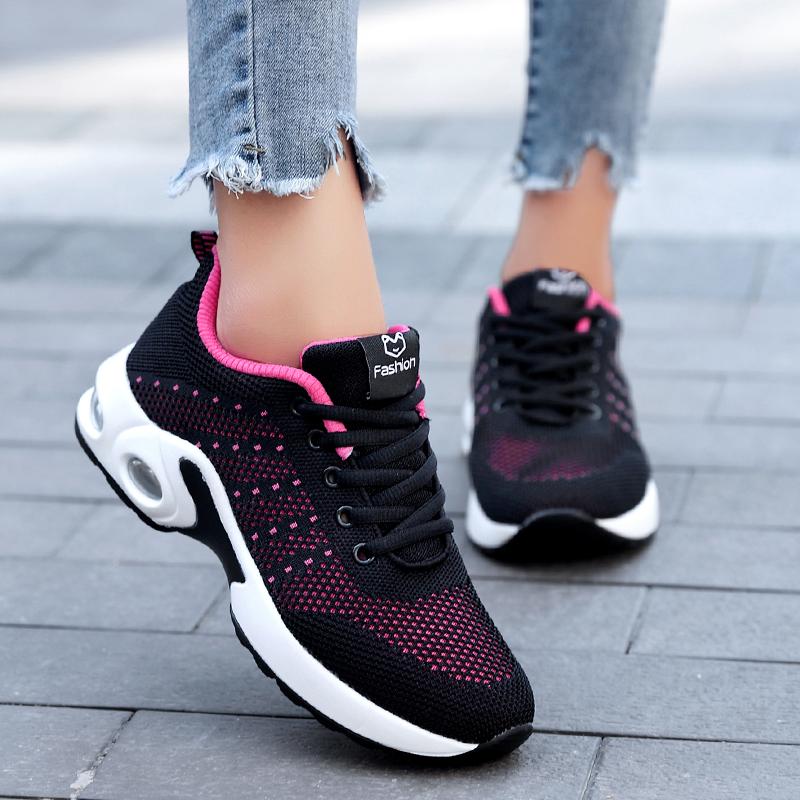 X0ANTA0C2019新款春秋透气网面运动鞋女士旅游鞋黑色厚底气垫跑步