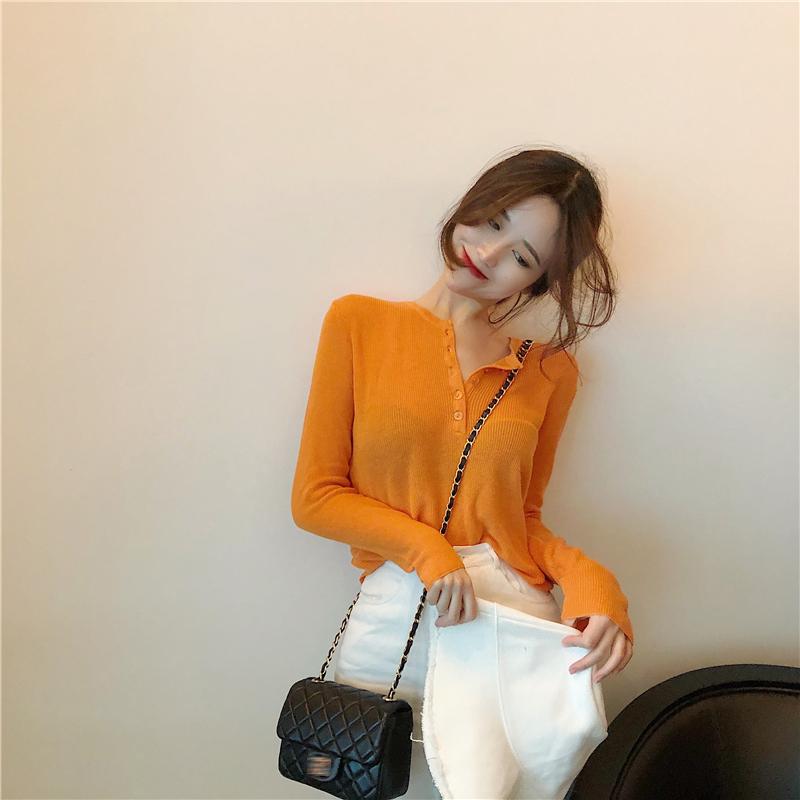 针织衫秋装女2018新款韩版chic单排扣套头长袖毛衣纯色打底衫上衣