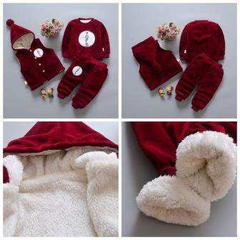 Children's suit female baby 0-1-2-3-5-6 years old and half winter clothing plus velvet thickening children's clothing set