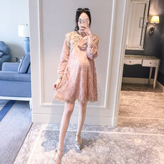 Pregnant women dress spring and autumn loose fashion long-sleeved long section tide mother lace skirt maternity dress spring shirt
