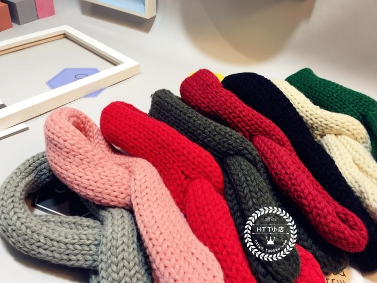冬季新版儿童毛线细条针织围巾韩国百搭保暖交叉围脖长毛线领子潮