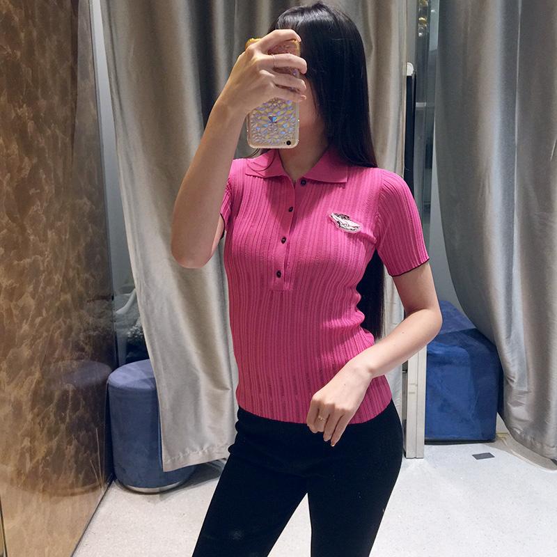 意大利代购PINKO休闲百搭针织POLO衫19春夏立领短袖T恤女3u10jx