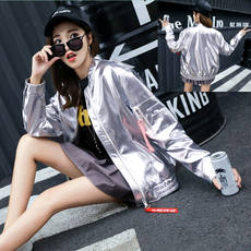 Baseball clothing leather female spring and autumn 2018 new loose long section wild bf spring jacket female Korean students tide