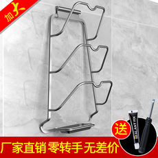 Kitchen wall hanging free punching hanging pot cover shelf space aluminum belt water tray storage supplies nail-free rack