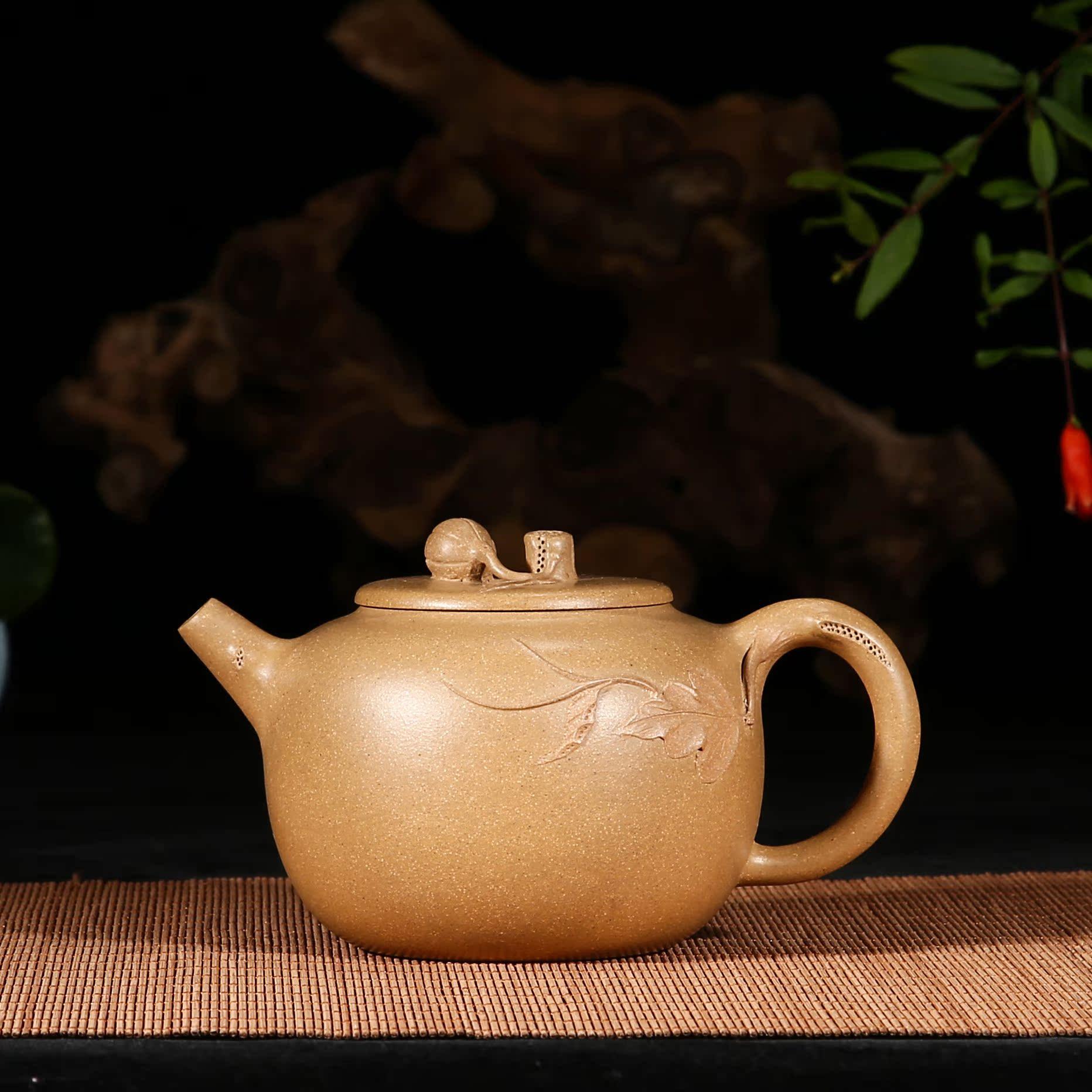 宜兴紫砂国家工艺美术师王芳全手工制作 原矿老段泥 柿子壶正品图片