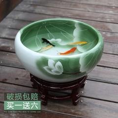 景德镇陶瓷鱼缸荷花锦鲤盆乌龟缸客厅缸碗莲养鱼盆睡莲风水金鱼缸