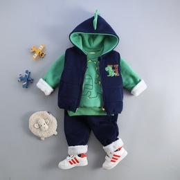 童装男童秋冬装加绒三件套 婴幼儿宝宝0-1-2-3-4岁加厚保暖冬套装
