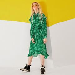 妖精的口袋2018新款春季木耳边灯笼袖雪纺连衣裙女P18100007