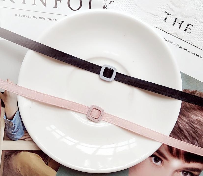 大牌范脖子饰品简约韩国进口织带粉色细款CHOKER锁骨链皮带扣项链