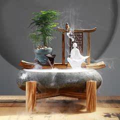 禅意中式流水加湿喷泉摆件风水招财电视柜客厅办公室店铺开业礼品
