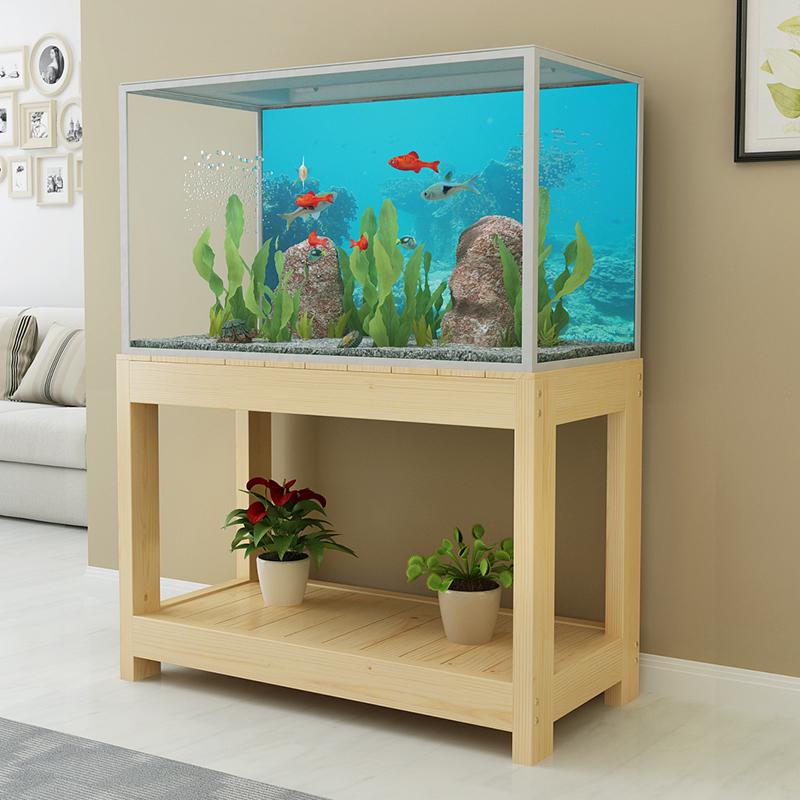 实木鱼缸底柜客厅鱼缸桌置物架多层木架子松木鱼缸架子鱼缸底座