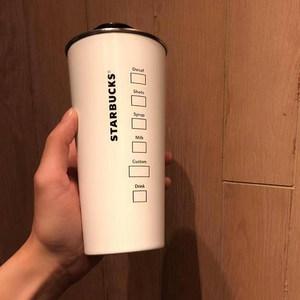 2018星巴克杯子女神款不锈钢桌面杯带盖子男女款情侣杯 白色473ML