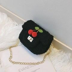圣诞新年儿童礼物女童小包斜挎包迷你樱桃毛绒包包1-3岁可爱儿童