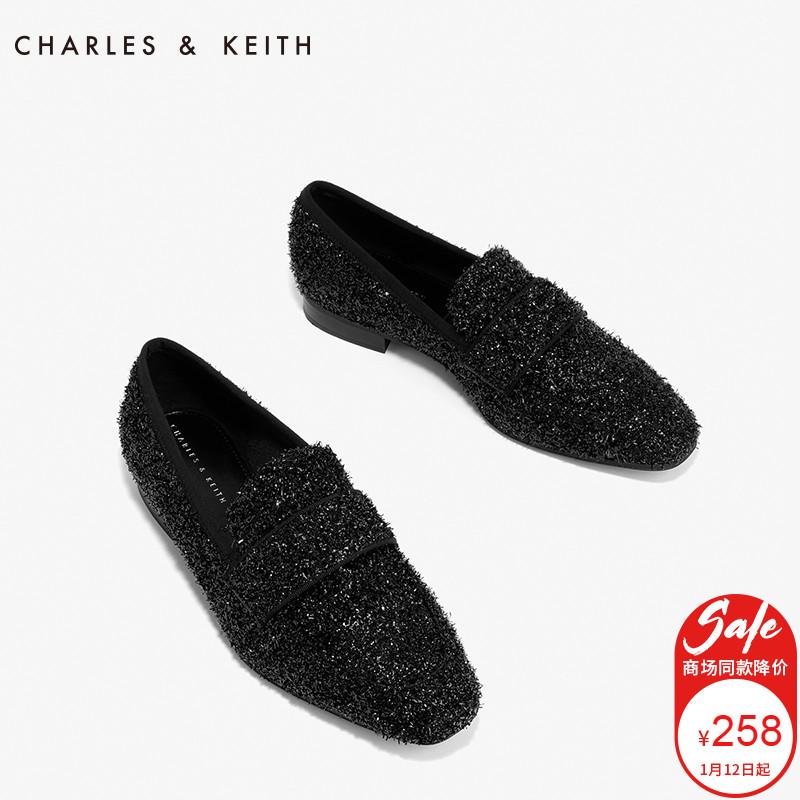 CHARLES&KEITH女士单鞋CK1-70380546-1简约方头低跟乐福鞋