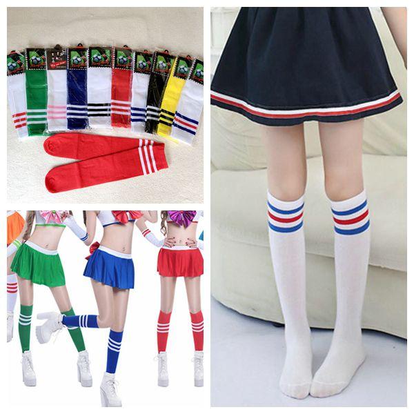 包邮儿童六一舞蹈袜 啦啦队啦啦操中长筒袜 男女童运动足球袜子