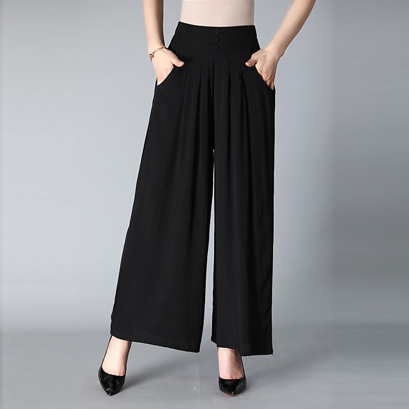 妈妈阔腿裤春夏季新款中年女装裤子宽松大码中老年女裤裙裤松紧腰