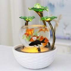 玻璃金鱼缸客厅创意装饰小型流水摆件办公桌面家居喷泉乔迁开业