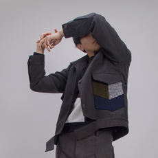 Original short locomotive wind Slim dark gray black woolen coat male short section youth woolen coat woolen jacket male