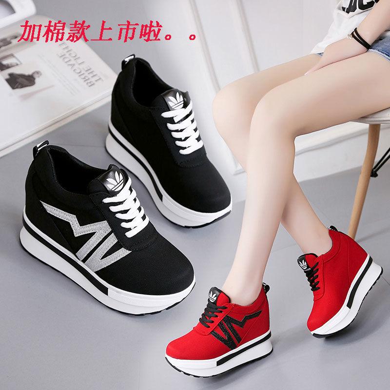 内增高单鞋女10cm坡跟帆布单鞋超高跟厚底春旅游鞋