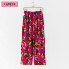 Female pyjamas rayon trousers cotton silk single trousers cotton silk pants loose straight high waist summer thin home pants