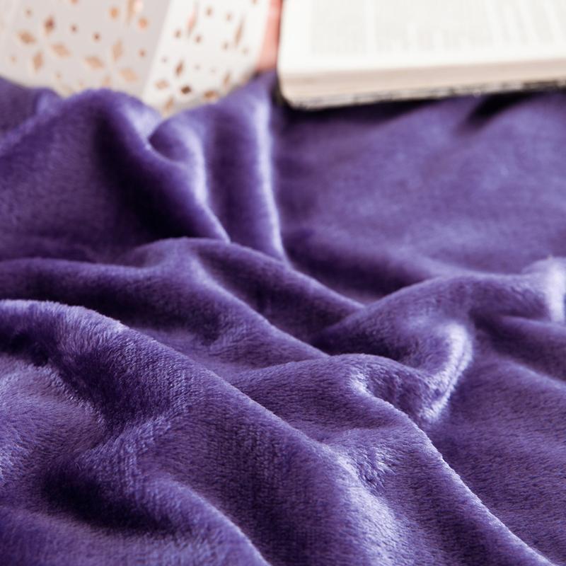 戴维妮 纯色简约双拼 加厚法莱绒四件套 冬季超保暖四