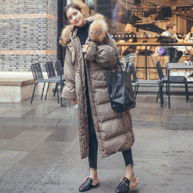 加厚保暖加长款棉服羽绒棉格子棉大衣女大毛领宽松大码冬装W9A060