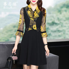 Spring new 2018 temperament women's A word dress Sai Nirui Europe and the United States waist was thin printing fake two dresses