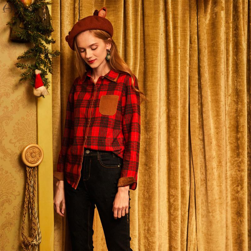 Artka阿卡圣诞之梦冬季口袋学院风复古百搭格子衬衫女SA10579Q