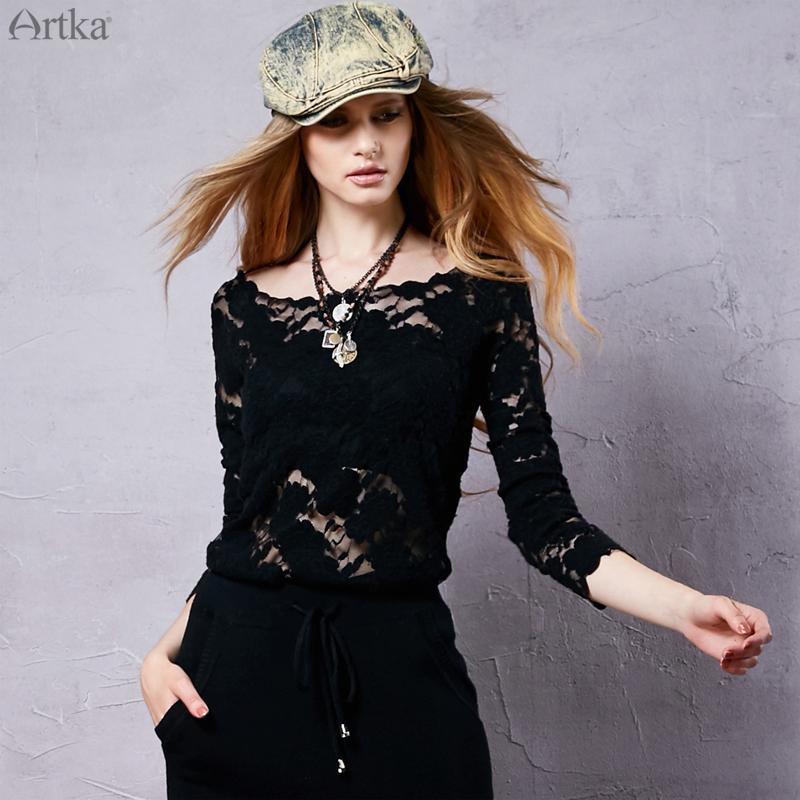 Artka阿卡早春女装复古百搭精致一字领长袖两件套蕾丝衫ZA16153Q
