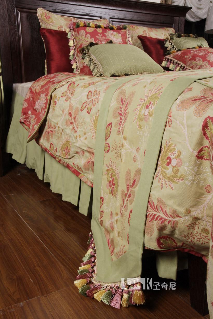圣奇尼美式豪华婚庆欧陆风情田园床品定制十件套样板房床上用品