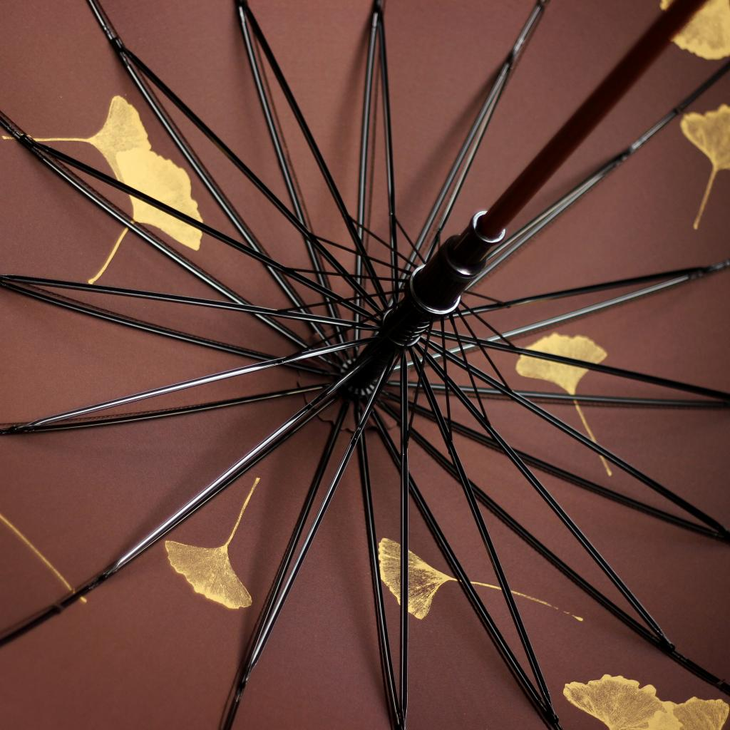 原创设计师品牌伞银杏叶图案实木直柄拍摄送礼实用伞创意设计中国