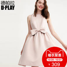 DPLAY Depala autumn European and American 藕 powder round neck sleeveless bow small dress solid color temperament dress