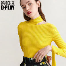 DPLAY2018 spring models Europe and the United States bright yellow oblique collar collar shirt shirt solid color was thin long-sleeved sweater