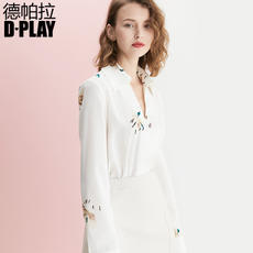DPLAY2018 summer new European and American white printing lapel commuter OL long-sleeved shirt OL wild women's shirt