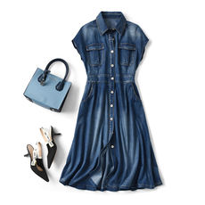 Upper body allows you to increase the vitality of the double-sided bag denim waist dress rice bug love to eat rice