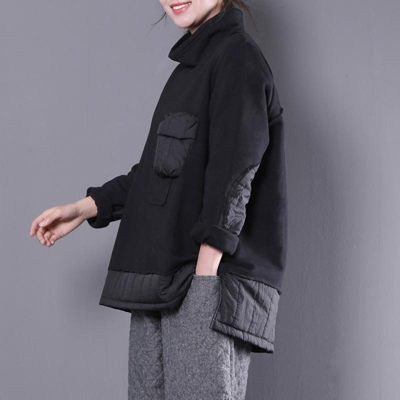 物格 冬装新款韩版宽松大码女装文艺高龄拼接口袋打底卫衣女