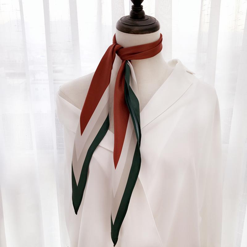 韩国chic菱形装饰小丝巾时髦复古发带撞色尖角小领巾头巾职业围巾
