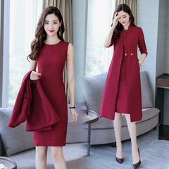 2018春秋季新款女装风衣连衣裙两件套韩版气质名媛妈妈装时髦套装