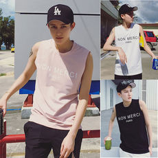 Summer dress bending LES handsome T cotton loose sweat vest tide men's leisure wild youth sleeveless T-shirt T-shirt men T