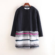 European series Korean version of loose cute plush stitching autumn and winter new warm women's long woolen coat C3950