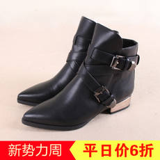 Fifteen series shopping malls withdrawn 2018 spring and autumn England pointed retro trend PU fashion wild women's boots XZ003K